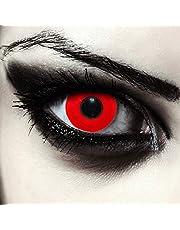 """Designlenses, twee helemaal rood gekleurde halloween carnaval kostuum contact lenzen, zonder dioptrieën, gratis lenshouder""""Blood Eye"""""""