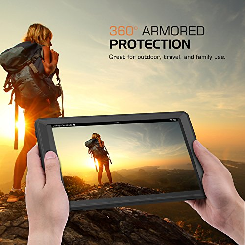 MoKo Case for All-New Fire HD 10 Tablet (7th Generation/9th Generation, 2017/2019 Release) - [Heavy Duty] Full Body Rugged Cover with Built-in Screen Protector for Fire HD 10.1 Inch, Black