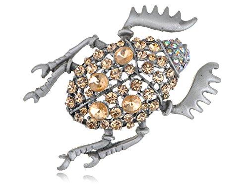 Alilang Colorado Topaz Rhinestone Crystal Egyptian Dung Scarab Gem Beetle Bug Pin Brooch