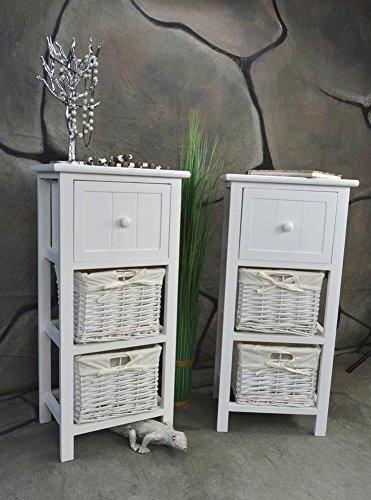 2 x Nachttisch Nachtschrank Landhaus Weiß 2 Körbe 70 cm Nachschränckchen Nachtkommode LV1083