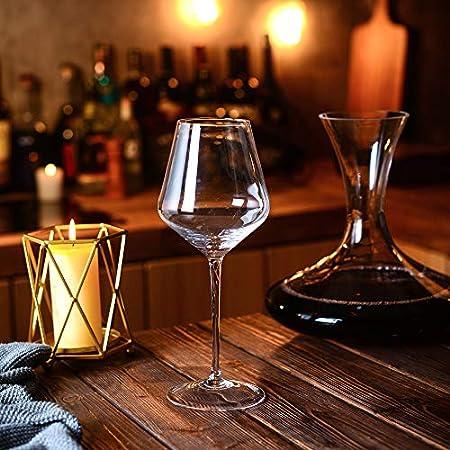 Amisglass Copas de Vino Tinto, Cristalería Copas de Vino Personalizada Juego 6 Piezas en Forma Clásica, Vidrio Transparente sin Plomo Soplado a Mano para Vino Tinto, Vino Blanco, Espumoso - 600 ML