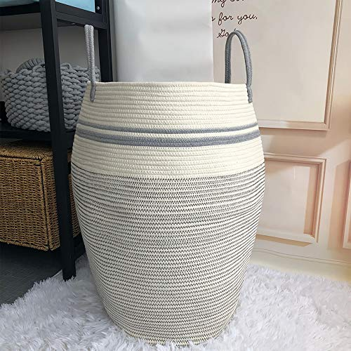 Woven Basket Laundry Hamper Modern, Large Dirty Clothes Hampers for Bathroom or Bedroom Corner, Tall Cotton Rope, Sturdy&Heavy Duty with handles