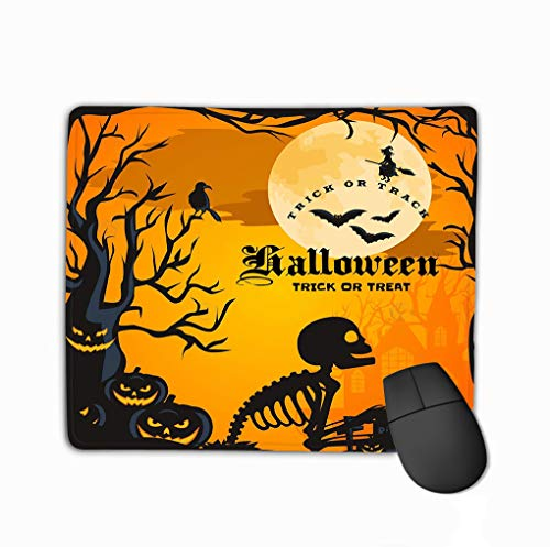 Mouse Pad Halloween Horror Forest Woods Spooky Tree Pumpkins Cemetery Design Autumn Valley Spider Web Space Ideal Rectangle Rubber Mousepad 11.81 X 9.84 Inch