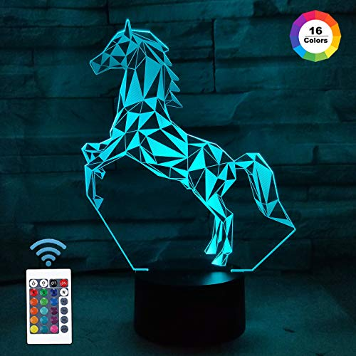 FULLOSUN Horse 3D LED Lamp Night Light Projection with 16 Color Changing Baby Nursery Nightlight for Kids Room Home Decor Xmas Birthday Gifts from FULLOSUN