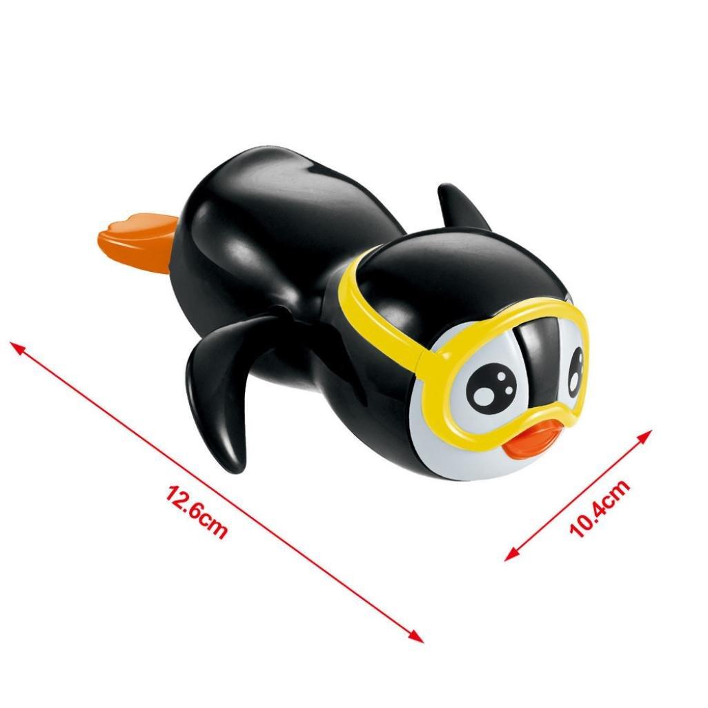 Baby Badespielzeug Hirolan Baden Spielzeug Geschenk Uhrwerk Wind Oben Schwimmen Pinguin Geschenk Reihe Float Pool Landen Badewanne Süß Schwimmen Spielzeug Für Die Jungen Mädchen (Schwarz, 12.6*10.4cm)