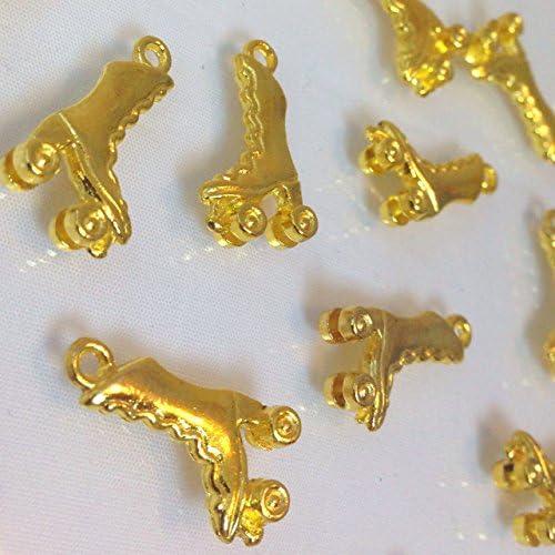 ローラースケート 4個 ゴールドチャーム アクセサリーパーツ ハンドメイド 手芸材料