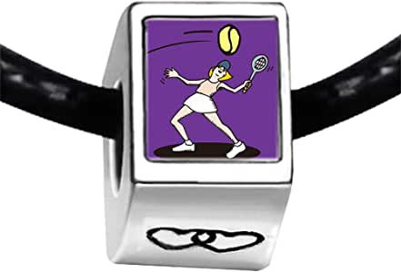 Chicforest Silver Plated Olympics female tennis player hit back Photo Double Heart Charm Beads Fit Pandora Chamilia Biagi Charm Bracelet