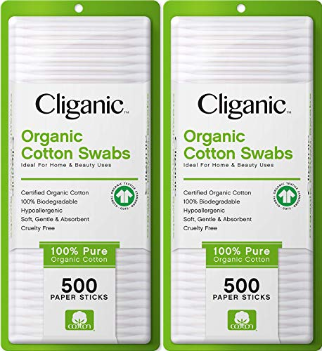 Cliganic Organic Cotton Swabs, 1000 Count - 100% Pure Natural Biodegradable Cotton, Chlorine-Free Hypoallergenic, Soft, Gentle & Absorbent Buds