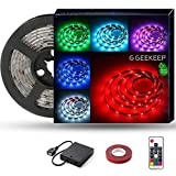 G GEEKEEP Battery Powered Led Strip Lights, Waterproof RGB LED Light Strips with Remote, Adhesive Rope Light with USB Power Cord(2m/6.56ft)