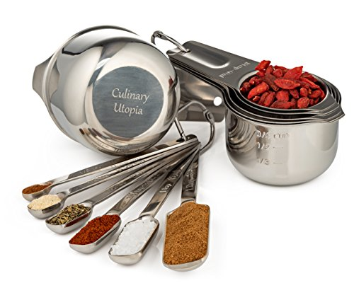 Stainless Steel Measuring Cups and Measuring Spoons Set of 1