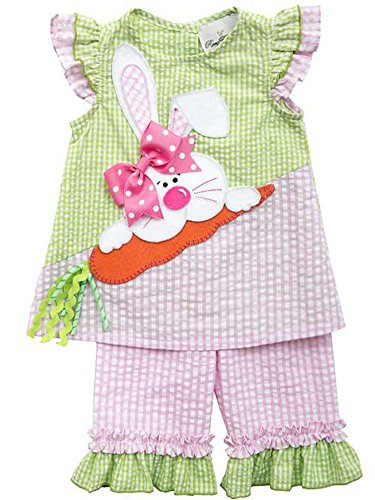 Rare Editions Pink and Lime Bunny Capri Easter Outfit for Toddler Girls