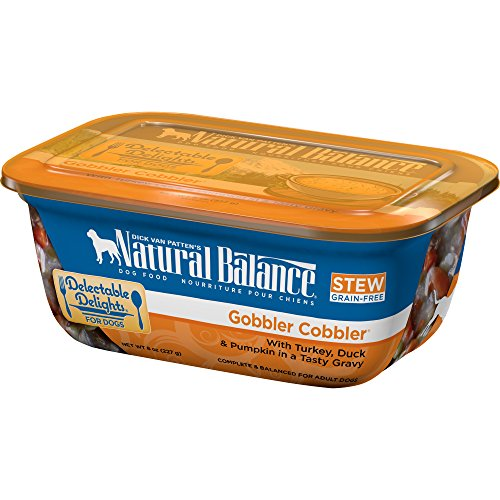 Natural Balance Delectable Delights Grain Free Wet Dog Food, Gobbler Cobbler Stew, 8-Ounce Container (Pack of 12)