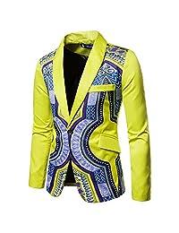 Challyhope Mens Stylish Bright Dashiki One Button Blazer Jacket Suit Long Sleeve African Print Shirt Cardigan Coat