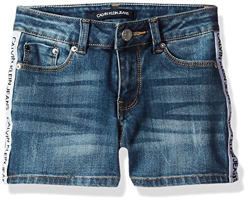 Calvin Klein Big Girls' Denim Short, Logo Tape Authentic, - Shorts Big 12 Girls Size