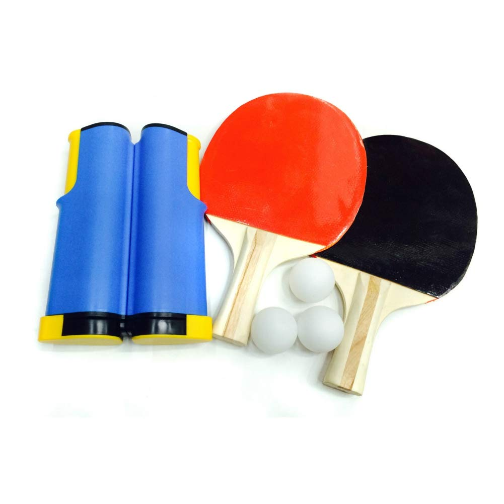 IMFUN Table Tennis Racket Net, Rack Set Plastic Wood Extendable Mesh Portable Single Side Pimples Out Ping-Pong Bats for Horizontal Grip