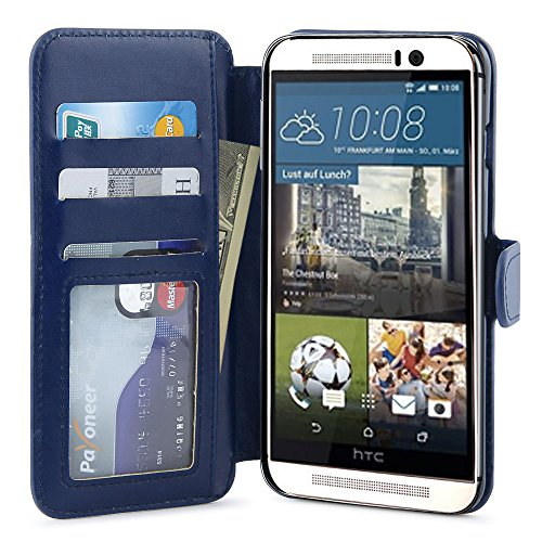 M9 Case,HTC One M9 Wallet Case, LK [Stand Feature] HTC One M9 Premium Wallet Case [Wallet Function] Flip Cover Leather Case for HTC One M9 with Stylus Pen [Premium Series] Dark Blue