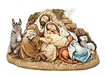 Restful Holy Family 9.5 Inch Resin Nativity Figurine