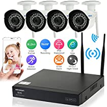 KKmoon 4CH WiFi NVR Network Video Recorder + 4pcs HD 960P Wireless Outdoor Bullet IP Camera Plug and Play HDMI P2P Cloud IR Night Vision Android/iOS Phone/Pad APP Motion Detection Email Alarm