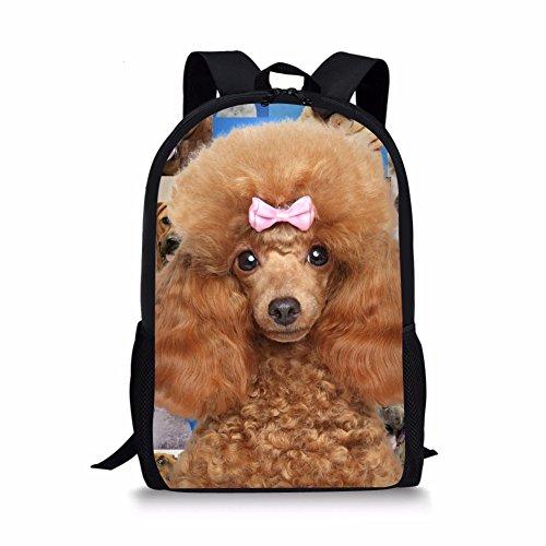 Showudesigns Cute Chilren Girls Poodle Putty Backpack with Adjustable Shoulder Strap (Backpack Poodle)