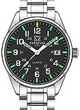 Gosasa Men's Tritium Watch Green Light Sapphire Glass Stainless Steel Band Analog Quartz Luminous Watches