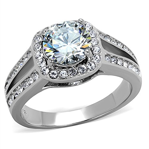 2.95 Ct Halo Cubic Zirconia Stainless Steel Engagement Ring Band Womens Sz 5-10