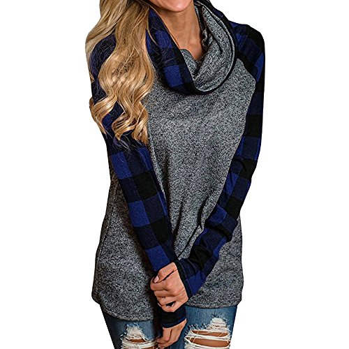 Ulanda Womens Sweatshirts Oversized Cowl Neck Long Sleeve Raglan Pullover Shirt Plaid Tunic Tops