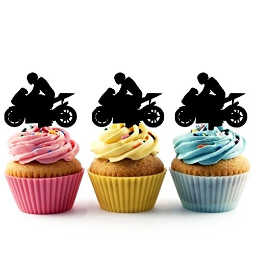 TA0200 Motorcycle Racing Sport Silhouette Party Wedding Birthday Acrylic Cupcake Toppers Decor 10 pcs -