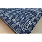 Cotton Block Print Bedspreads Indigo Dye Fabric Bed Sheets King Queen Full Day Cover Ethnic Floral Design Stamp Printed Tapestry Bedding 87 x 102 Inches