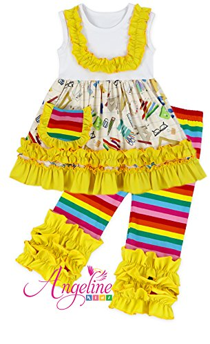 Toddler Little Girls Back to School Yellow Rainbow Crayon Book Ruffles Capri Set 8