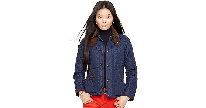 Ralph Lauren Ladies Suede Trim Quilted Jacket Barn Hagan Coat Xl At