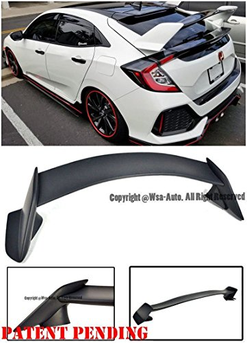 Type R Style ABS Plastic Rear Trunk Lid Wing Spoiler Lip For 16-Up Honda Civic 5Dr Hatchback 2016 2017 16 17 JDM - Style Spoiler Lip