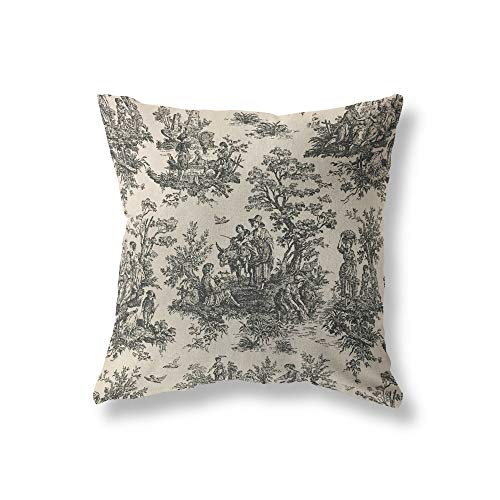 King65irginia Toile Pillowcase Cover Premier Prints Colonial Toile Black Linen Black Pillowcase Cover Made to Order in Over 20 Sizes with Invisible Zipper