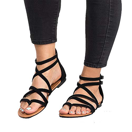 Xiakolaka Womens Flat Sandals,Ankle Strap Gladiator Thong Shoes Black 42 ()