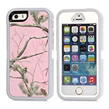 """iPhone 5 5S SE Case, Heavy Duty Tree Camo Defender Series Full-body Protective Hybrid 3-piece Cover Built-in Screen Protector Case for Apple iPhone 5/5S/SE 4"""" (Grey Tree)"""