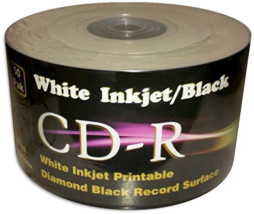White Inkjet Printable/BLACK 80-Minute CD-R's 100-Pak in Shrinkwrap (2 x 50-Pak) (Pak Shrink Wrap)
