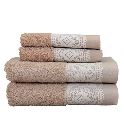 (MINTEKS 152302686 Lace Towel Kopenhagi Embroidered Decorative Bath Towels Set for Bathroom, Brown [2 Hand Towels, 2 Wash Clothes])