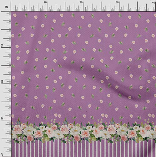 - Soimoi Purple Moss Georgette Fabric Dot & Ranunculus Panel Print Fabric by The Yard 42 Inch Wide