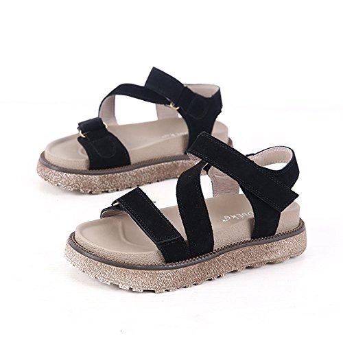 Femmes En Cuir Plates Forme Sandales Semelle Épaisse Mode Été Ouvert  Plate-forme Orteil Chaussures