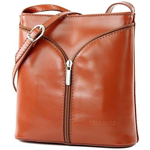 Bolso italiano de mano para señora, tipo bandolera pequeña, piel avestruz D19 Cognac