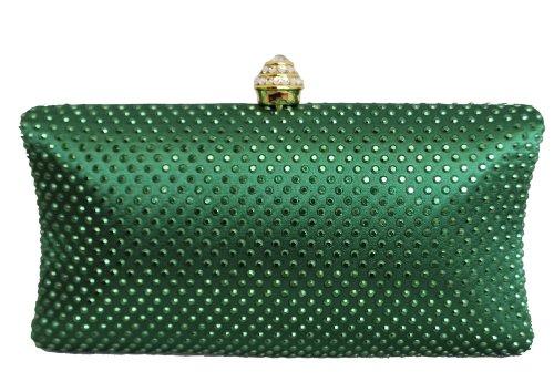 Chicastic Green Rhinestone Crystal Hard Box Wedding Cocktail Evening Clutch Bag (Crystal Box Clutch)