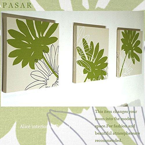 送料無料 ファブリックパネル adornoPASAR グリーン 30×30×2.5cm 3枚セット 緑 壁飾り 花柄 北欧 植物柄 国産 おしゃれ adorno PASAR 同梱可 B016XO0HAE