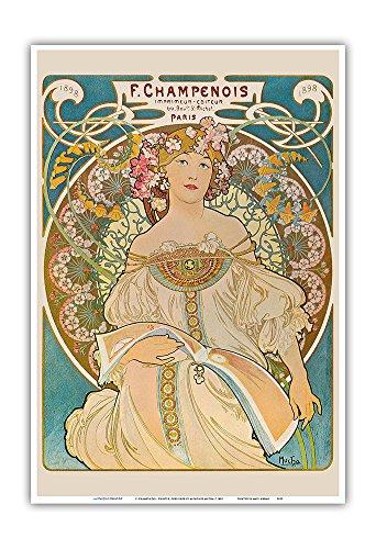 Mucha Art Nouveau Poster - F. Champenois - Printer, Publisher (Imprimeur-Éditeur) - Paris, France - Vintage Art Nouveau Poster by Alphonse Mucha c.1898 - Master Art Print - 13in x 19in