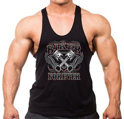 Men's Biker Forever Black Stringer Tank Top X-Large - Top Biker Tank