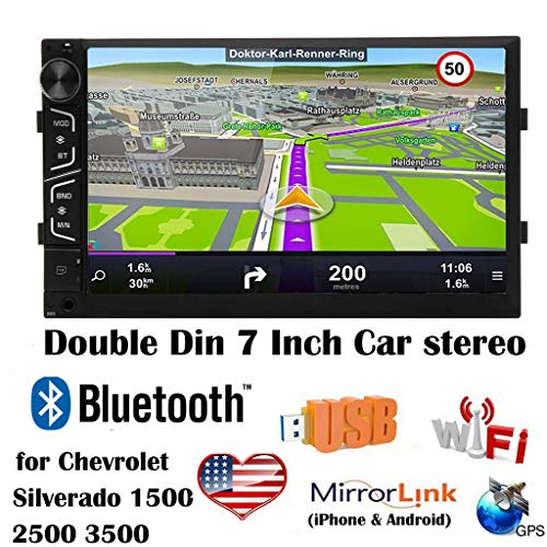 Double Din Android Car Stereo 7 Inch Touch Screen Car Radio for Chevrolet Silverado 1500 2500 3500 Support Mirror Link (IOS and Android) Bluetooth WiFi Steering Wheel Control GPS