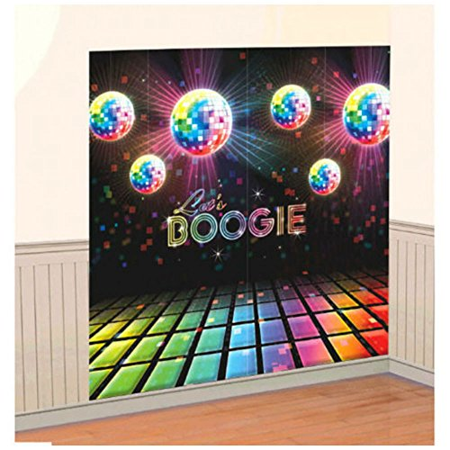 Disco Fever Let's BOOGIE Scene Setters 70s Themed Party Wall Decorating Kit 1970 Disco Balls Scene Setter