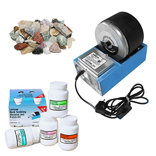 Lortone 45C Rotary Rock Tumbler Kit with Abrasives, Polish and Assorted Rough Stones