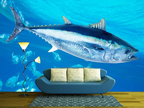 wall26 - Bluefin Tuna Thunnus Thynnus Saltwater Fish in Mediterranean - Removable Wall Mural | Self-adhesive Large Wallpaper - 100x144 inches - Exclusive Tuna Fish