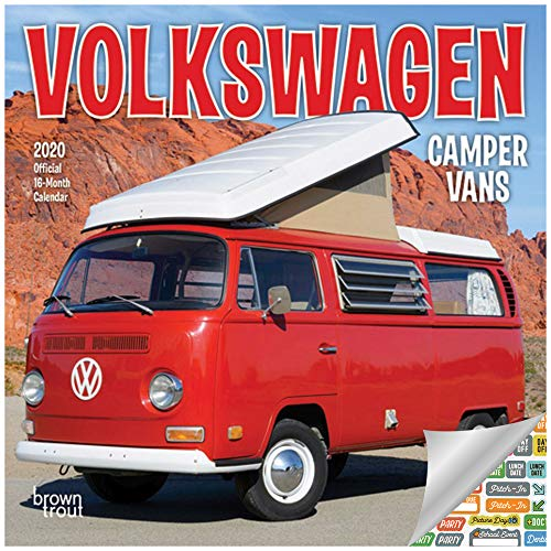 Volkswagen Camper Vans Calendar 2020 Set - Deluxe 2020 VW Bus Mini Calendar with Over 100 Calendar Stickers