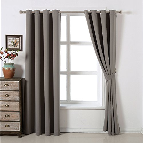 Authentic Blackout Bedroom Curtains Set By Amazlinen 100 Polyester Grommet Top Room Darkening