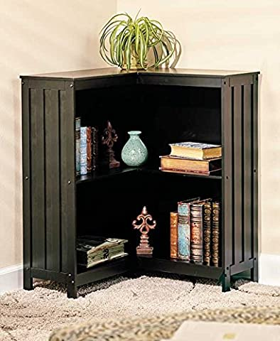 The Lakeside Collection Mission-Style Corner Storage Shelves (Black) - Mission Style Corner